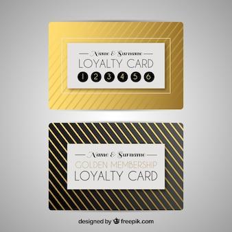 Modelo de cartão de fidelidade na cor dourada