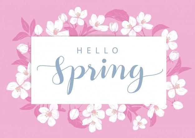 Modelo de cartão de flor de cerejeira com texto.