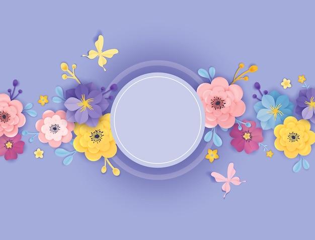 Modelo de cartão de flores de corte de papel. estilo floral do origami do quadro do fundo. projeto botânico de primavera verão para banner, poster. ilustração vetorial