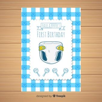 Modelo de cartão de fralda primeiro aniversário mão desenhada