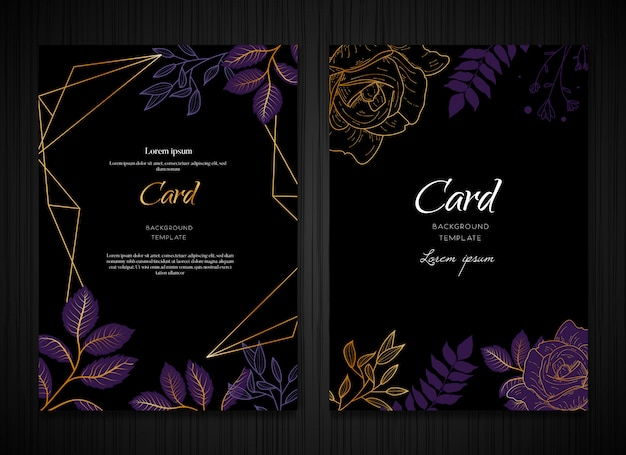 Modelo de cartão de fundo floral roxo escuro