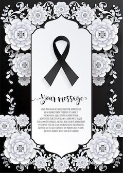Modelo de cartão de funeral com sinal de fita