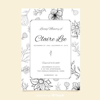 Modelo de cartão de funeral de flores desenhadas de mão