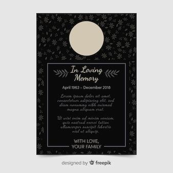 Modelo de cartão de funeral de flores