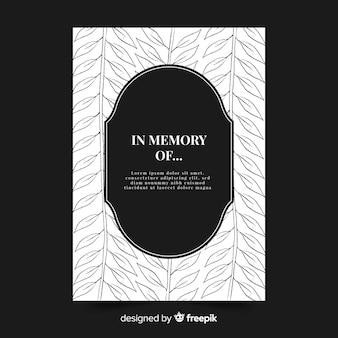 Modelo de cartão de funeral de folhas