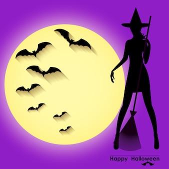 Modelo de cartão de halloween com a bruxa em pé contra o fundo do céu roxo, lua cheia e morcegos