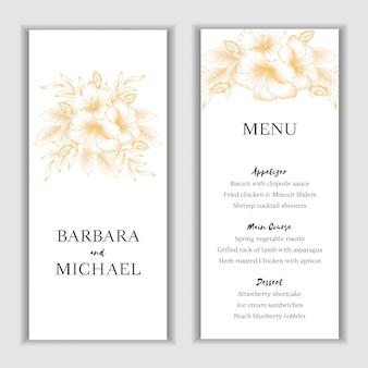 Modelo de cartão de hibisco dourado floral menu