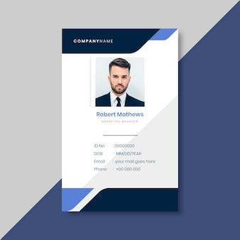 Modelo de cartão de identidade comercial com elementos minimalistas