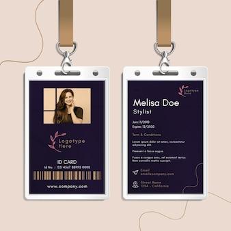 Modelo de cartão de identidade para salão de beleza