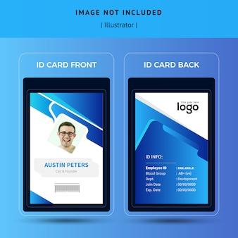 Modelo de cartão de identificação abstrata azul
