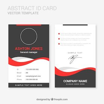 Modelo de cartão de identificação abstrata com design plano