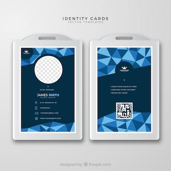 Modelo de cartão de identificação abstrata com estilo geométrico