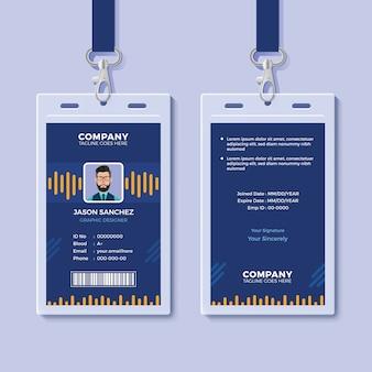 Modelo de cartão de identificação azul com gráficos amarelos