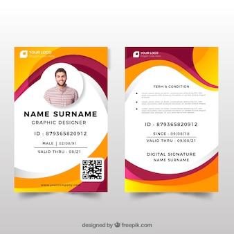 Modelo de cartão de identificação com design plano