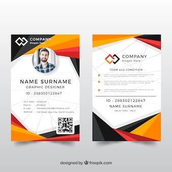 Modelo de cartão de identificação com estilo abstrato