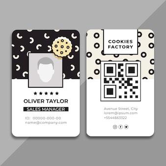 Modelo de cartão de identificação com foto de biscoitos