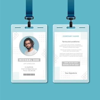 Modelo de cartão de identificação com foto