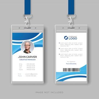 Modelo de cartão de identificação corporativo com detalhes azuis