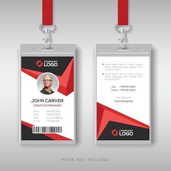 Modelo de cartão de identificação criativo com detalhes vermelhos