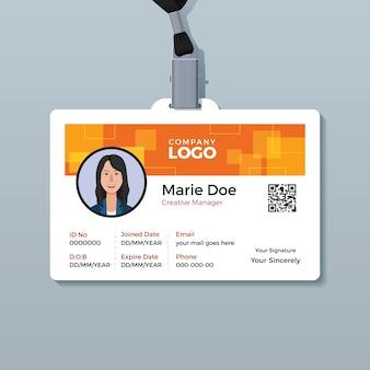 Modelo de cartão de identificação criativo laranja