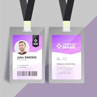 Modelo de cartão de identificação da empresa em roxo com foto