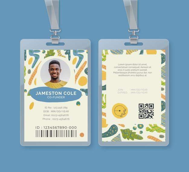 Modelo de cartão de identificação de alimentos bio e saudáveis