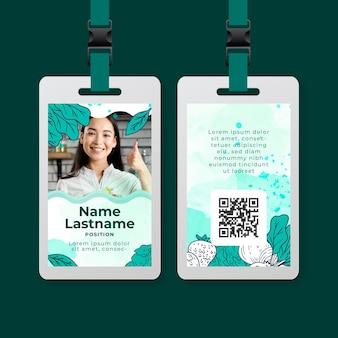Modelo de cartão de identificação de alimentos saudáveis e bio