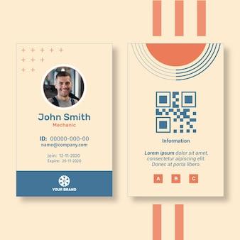 Modelo de cartão de identificação de anúncio mecânico
