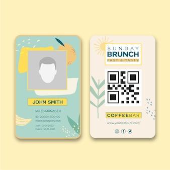 Modelo de cartão de identificação de brunch