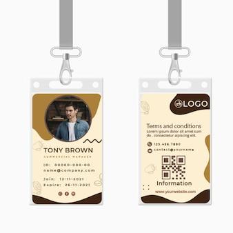 Modelo de cartão de identificação de café