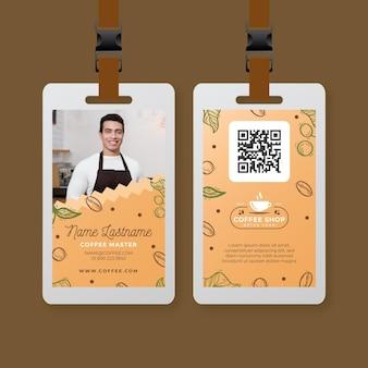 Modelo de cartão de identificação de cafeteria