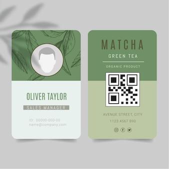 Modelo de cartão de identificação de chá matcha