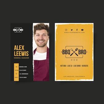 Modelo de cartão de identificação de churrasco