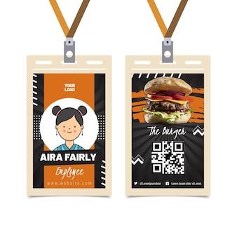 Modelo de cartão de identificação de comida americana