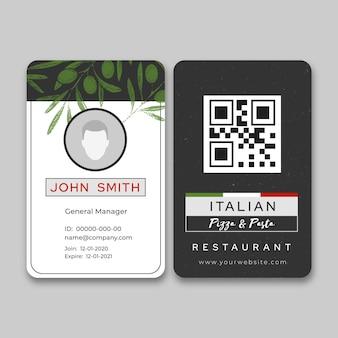 Modelo de cartão de identificação de comida italiana Vetor grátis