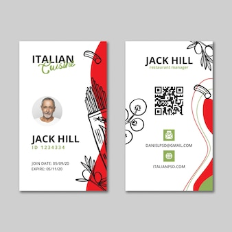 Modelo de cartão de identificação de comida italiana
