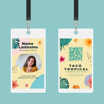 Modelo de cartão de identificação de comida mexicana