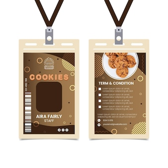Modelo de cartão de identificação de cookies deliciosos