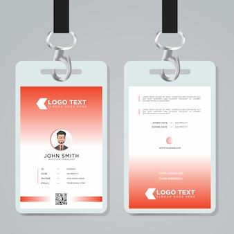 Modelo de cartão de identificação de cor clara minimalista