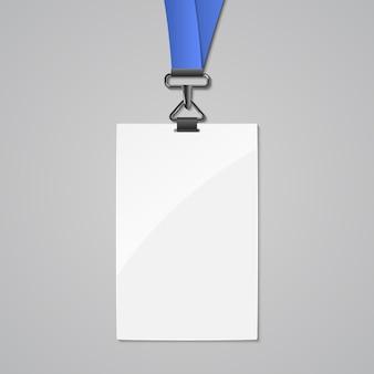 Modelo de cartão de identificação de crachá de cordão. nome do projeto da etiqueta em plástico e metal do talabarte de identidade em branco para a empresa.