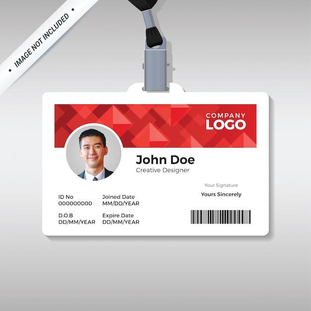 Modelo de cartão de identificação de diamante vermelho