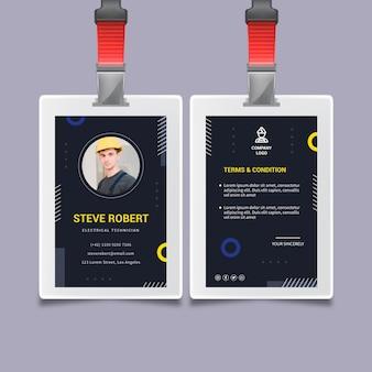 Modelo de cartão de identificação de eletricista