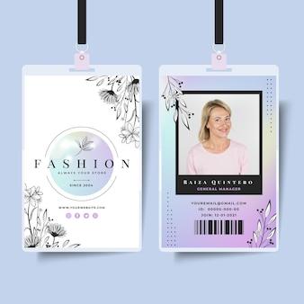 Modelo de cartão de identificação de empresária com elementos elegantes