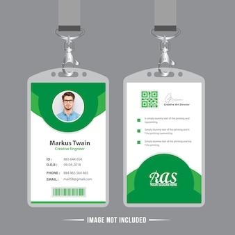 Modelo de cartão de identificação de escritório verde