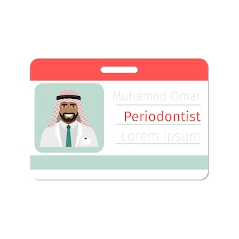 Modelo de cartão de identificação de especialista médico periodontista