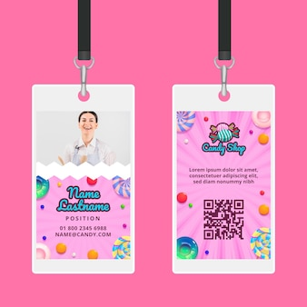 Modelo de cartão de identificação de fábrica de doces
