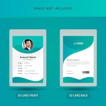 Modelo de cartão de identificação de funcionários de escritório