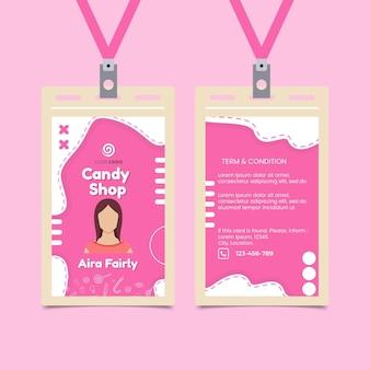 Modelo de cartão de identificação de loja de doces