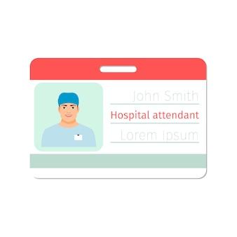 Modelo de cartão de identificação de médico especialista atendente hospital