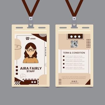Modelo de cartão de identificação de pessoal de padaria
